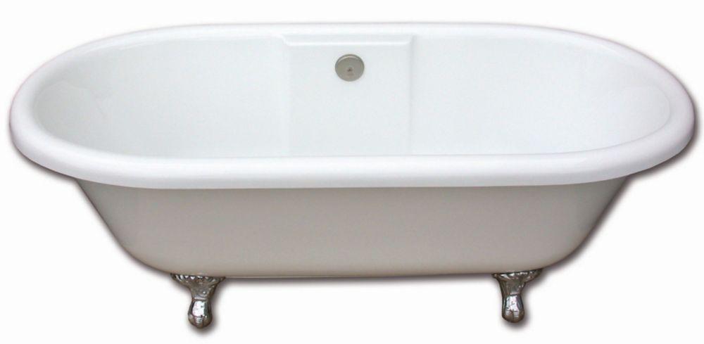 Edwardian 5 Feet 6-Inch Clawfoot Bathtub with Chrome Legs