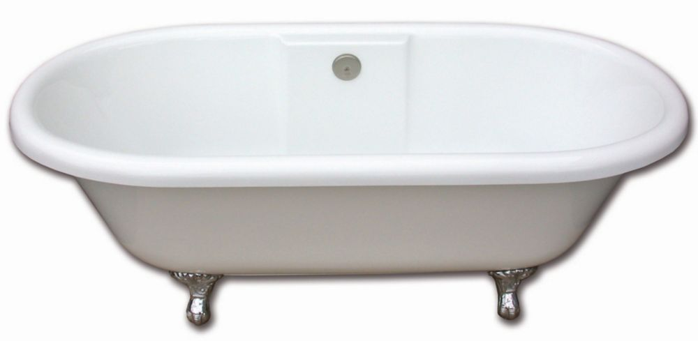 Edwardian 5 Feet 6-Inch Clawfoot Bathtub with Brushed Nickel Legs