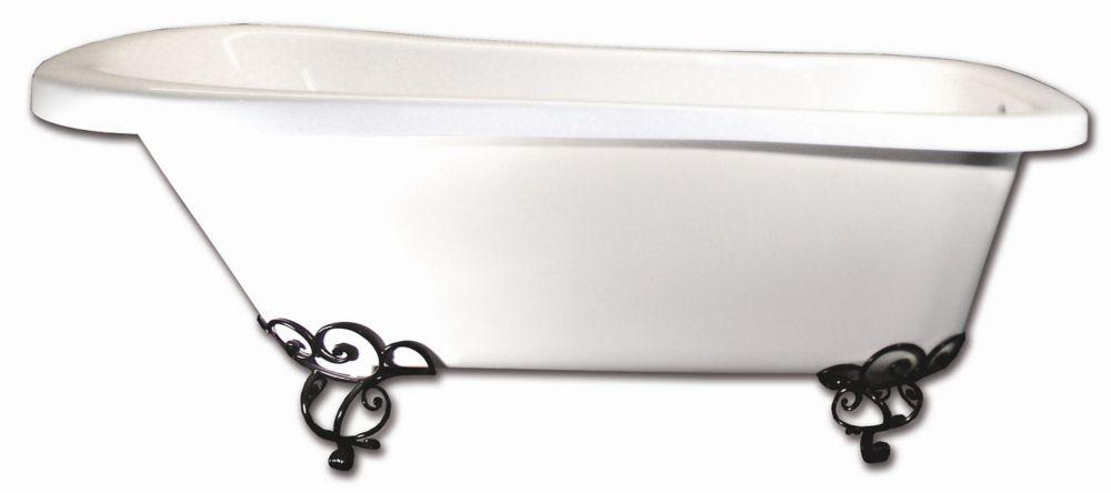 Baignoire Sur Pattes Oxford  5.5 Pieds - Pattes Chrome - Pattes en acier noir decoratifs