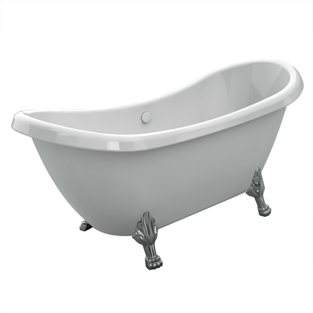 Rhapsody 5 Feet Acrylic Freestanding Clawfoot Non Whirlpool Bathtub with Chrome Legs