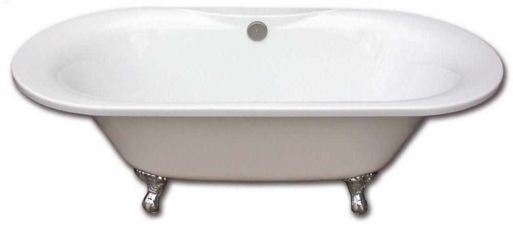Tudor 5 Feet 6-Inch Fibreglass Freestanding Clawfoot Non Whirlpool Bathtub with Brushed Nickel Le...