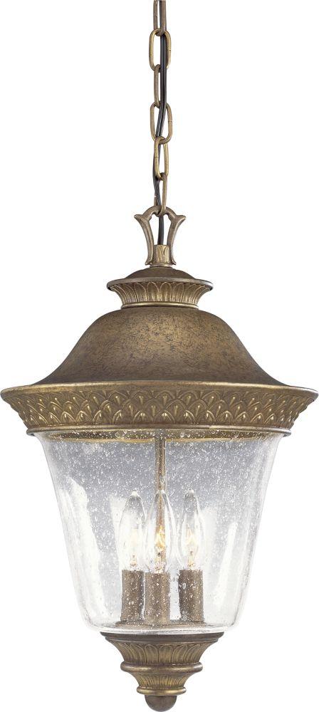 Lanterne suspendue à 3 Lumières, Collection Savannah - fini Châtain Bruni