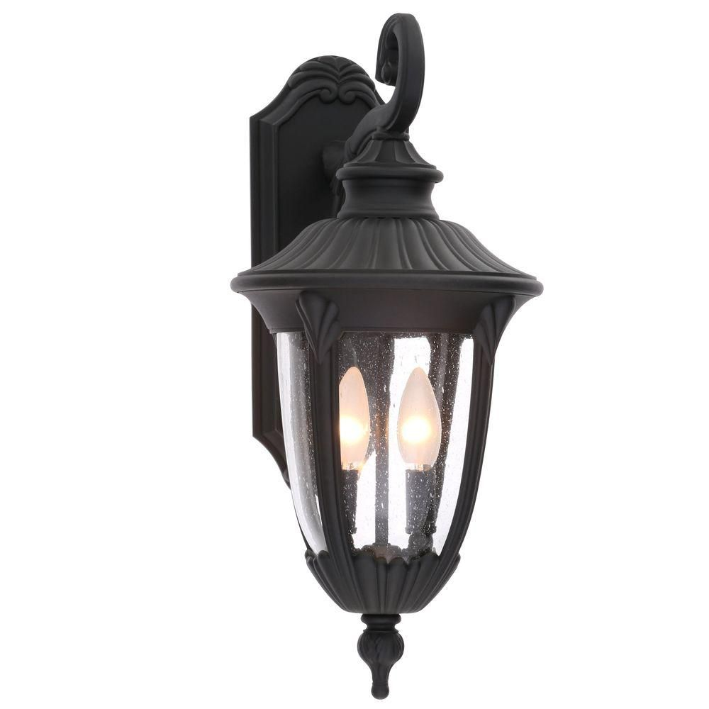 Progress Lighting Meridian Collection 2-Light Outdoor Textured Black Wall Lantern