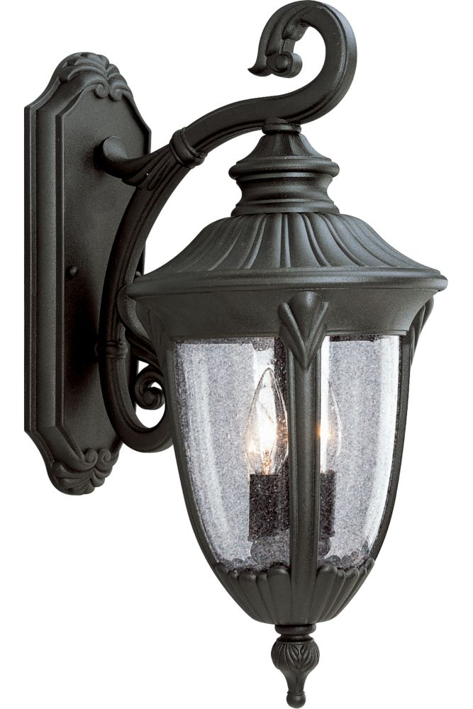 Meridian Collection Textured Black 2-light Wall Lantern