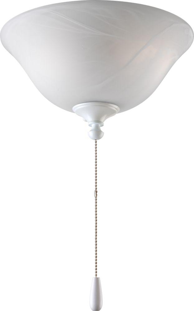 Luminaire de ventilateur de plafond à 2 Lumières, Collection AirPro - fini Blanc