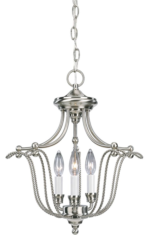 Lustre à 3 Lumières, Collection Avalon - fini Nickel Brossé