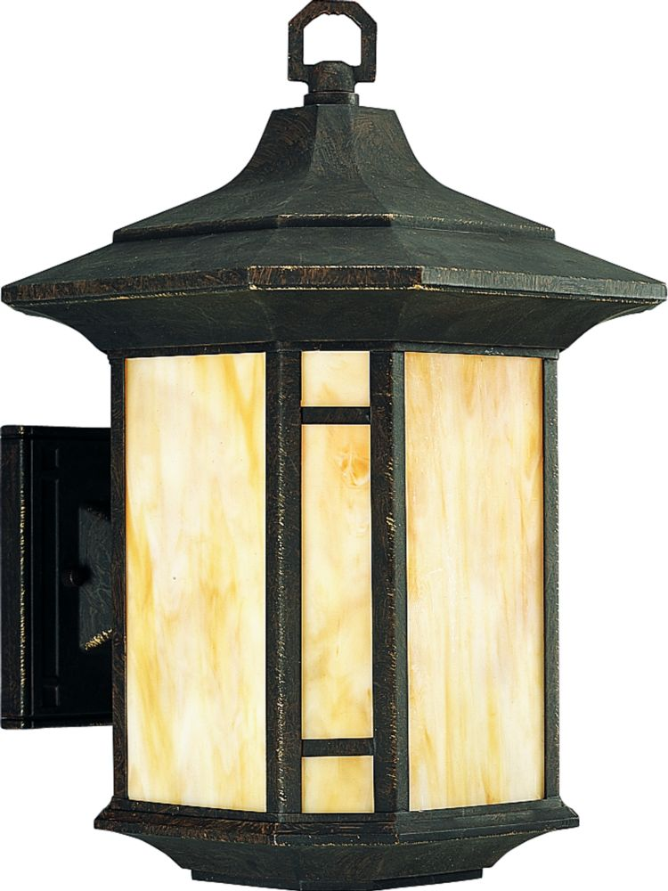 Arts and Crafts Collection Weathered Bronze 1-light Wall Lantern