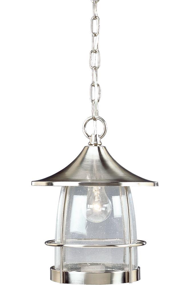 Lanterne suspendue à 1 Lumière, Collection Prairie - fini Nickel Brossé