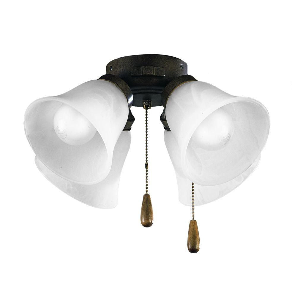 AirPro Burnished Chestnut 4-light Ceiling Fan Light
