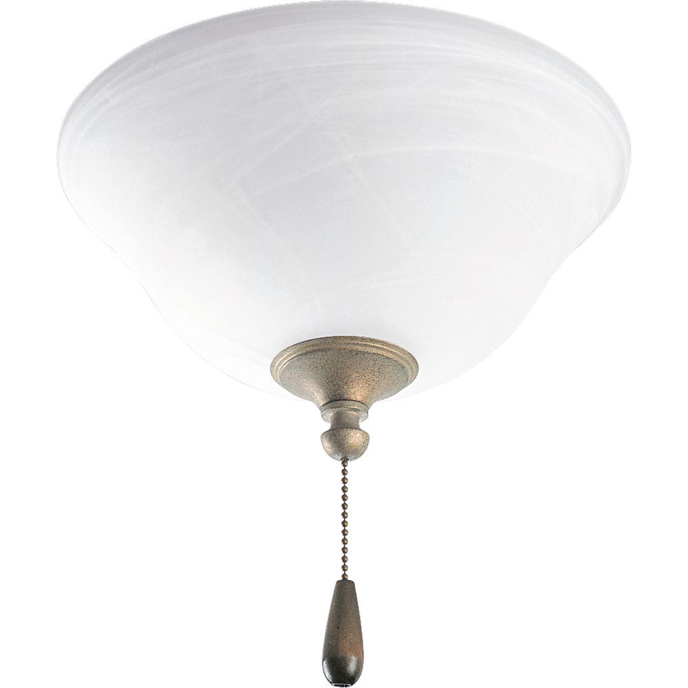 Luminaire de ventilateur de plafond à 2 Lumières, Collection AirPro - fini Brume Platine