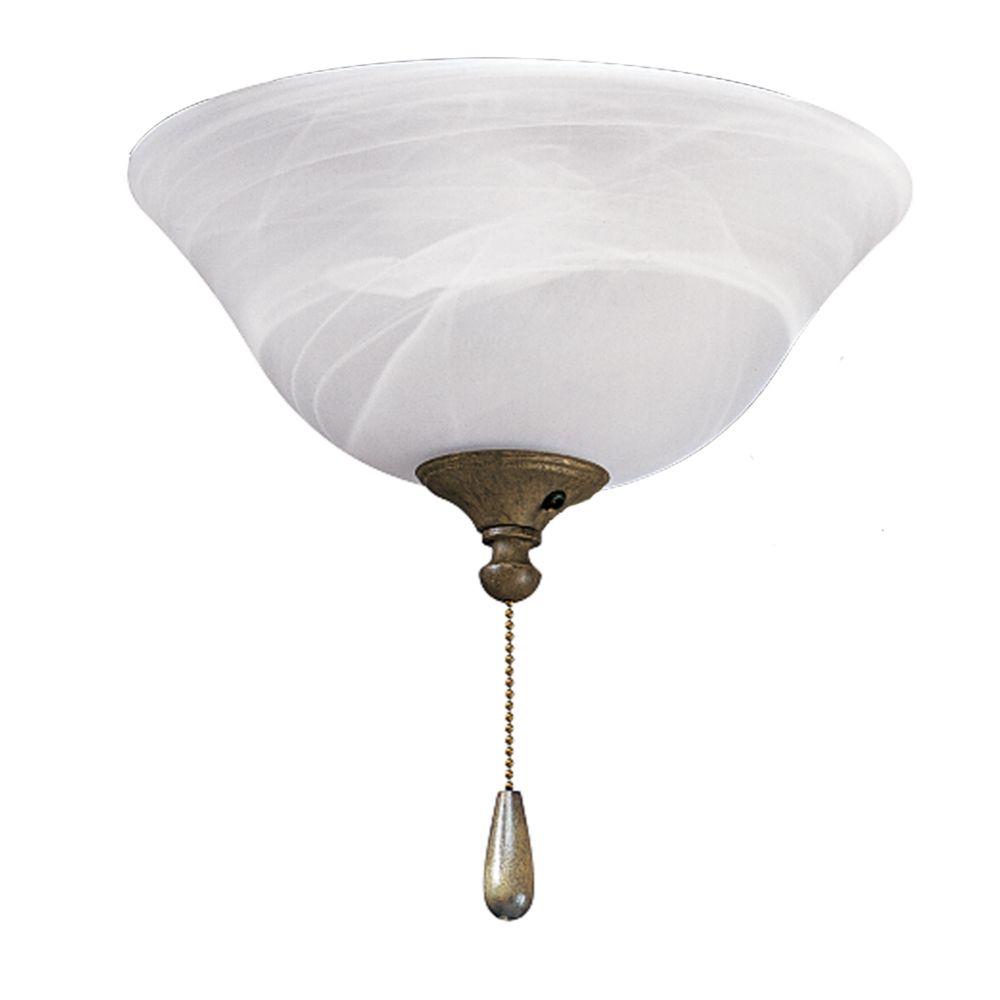 Luminaire de ventilateur de plafond à 2 Lumières, Collection AirPro - fini Châtain Bruni