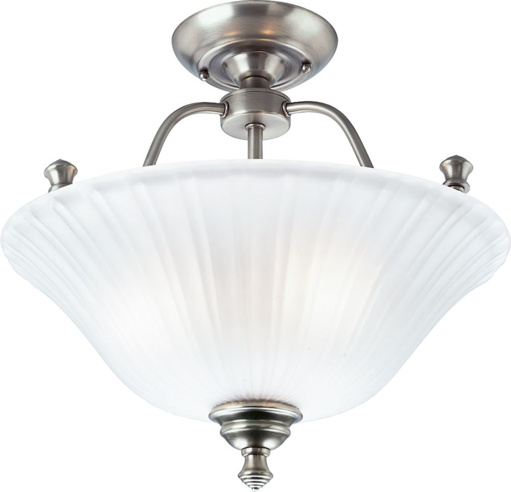 Renovations Collection Antique Nickel 3-light Semi-flushmount