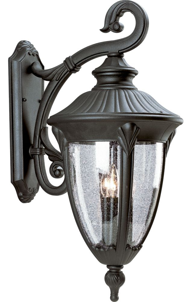Meridian Collection Textured Black 3-light Wall Lantern