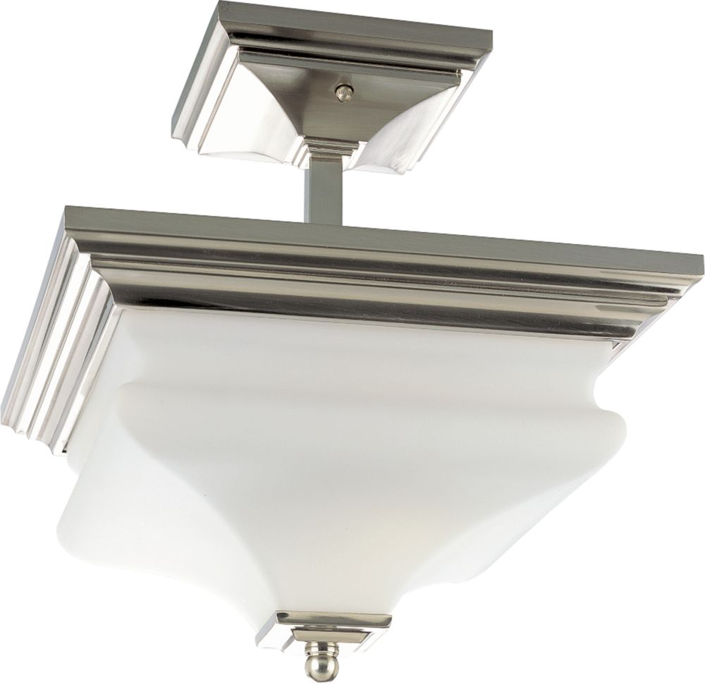 Bratenahl Collection Brushed Nickel 2-light Semi-flushmount