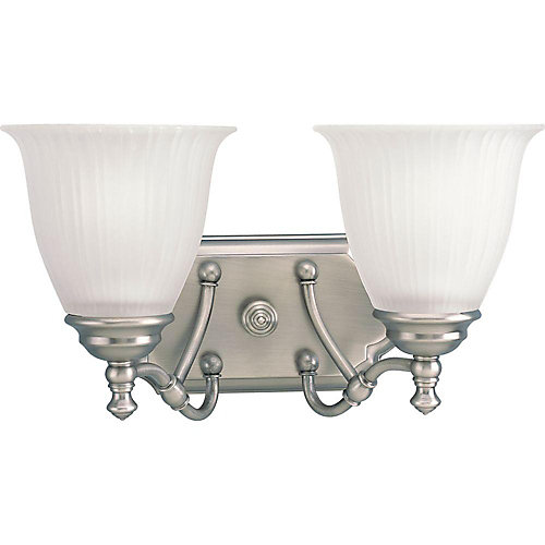 Renovations 2-Light Antique Nickel Vanity Light with Etched Glass Shades