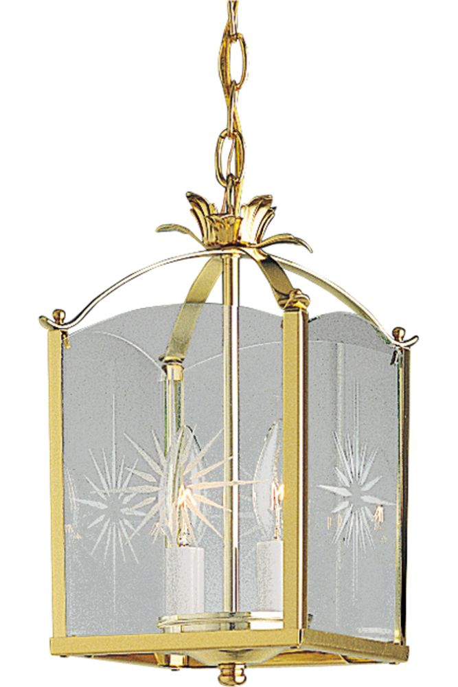 Polished Brass 2-light Semi-flushmount