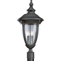 Progress Lighting Meridian Collection 3-Light Textured Black Outdoor Post Lantern