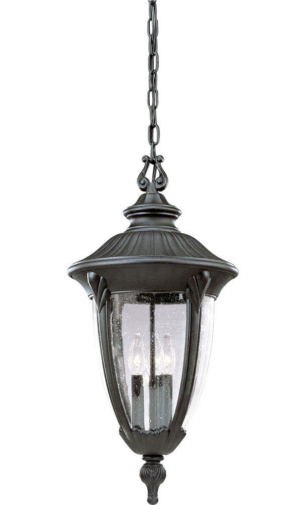 Meridian Collection Textured Black 3-light Hanging Lantern