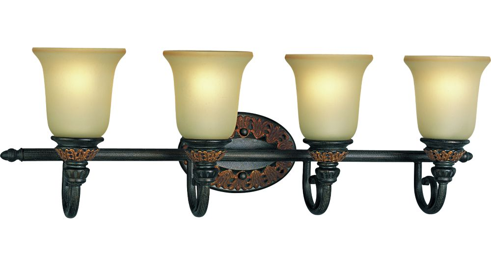 Barcelona Collection Old Iron Crackle 4-light Wall Bracket