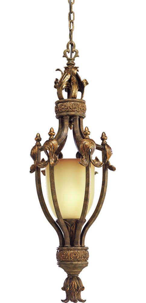 Lustre à 1 Lumière, Collection Lafayette - fini Craquelure Noire