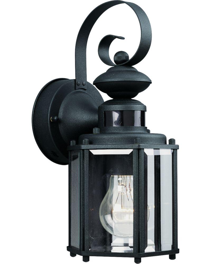 Lanterne murale à 1 Lumière, Collection Motion Sensor - fini Noir