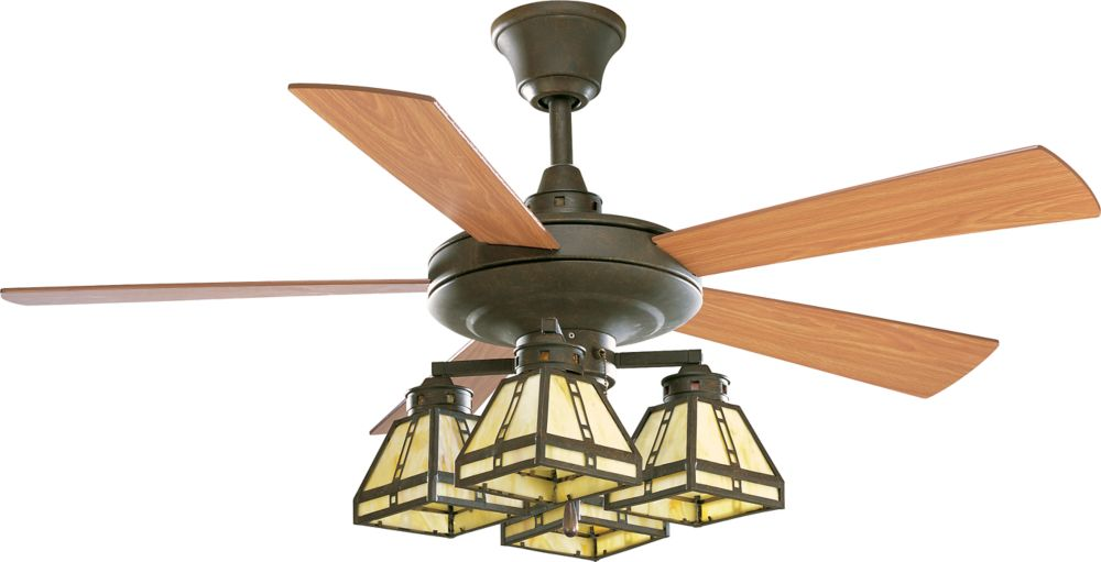 52 In. Arts and Crafts Collection Weathered Bronze Ceiling Fan