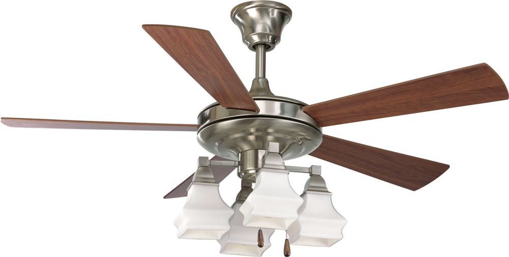 52 In. Bratenahl Collection Brushed Nickel Ceiling Fan