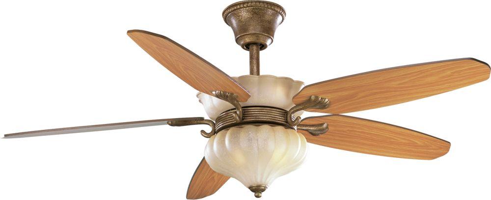 Ventilateur de plafond 52 po, Collection Le Jardin - fini Craquelure de Biscaye