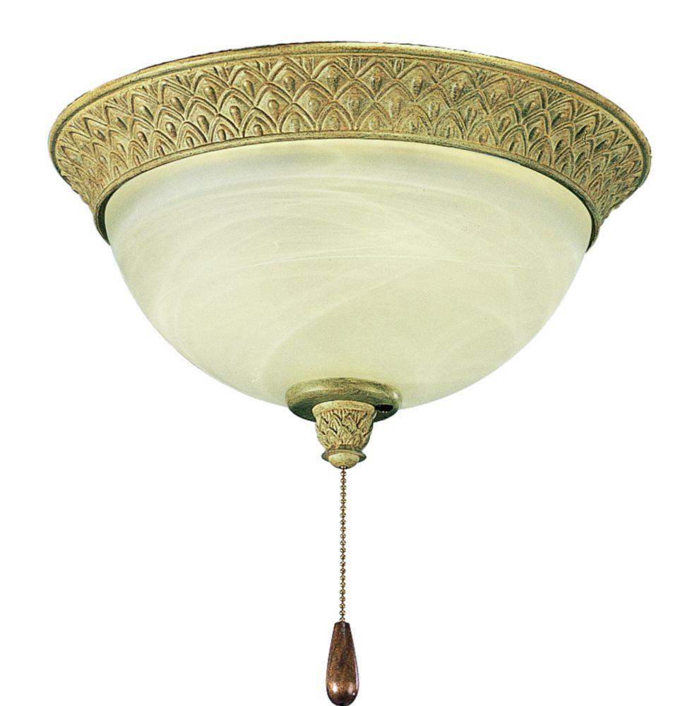 Luminaire de ventilateur de plafond à 2 Lumières, Collection Savannah - fini Ruisseau de mer