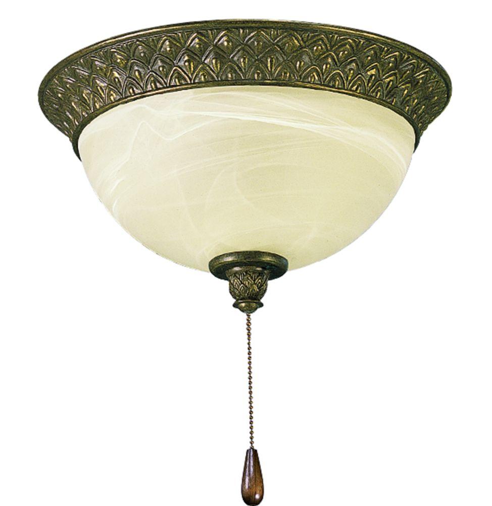Luminaire de ventilateur de plafond à 2 Lumières, Collection Savannah - fini Châtain Bruni