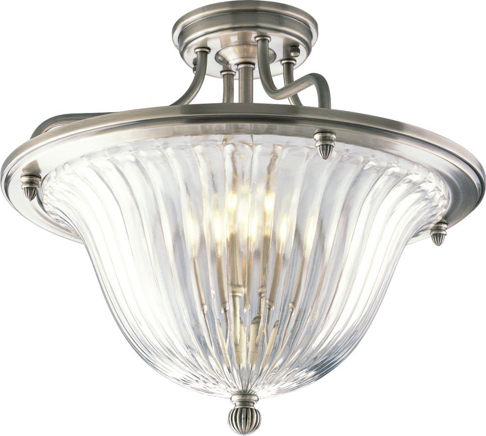 Roxbury Collection Classic Silver 3-light Semi-flushmount