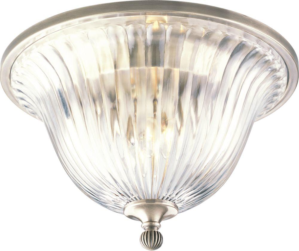 Plafonnier à 2 Lumières, Collection Roxbury - fini Argent Classique