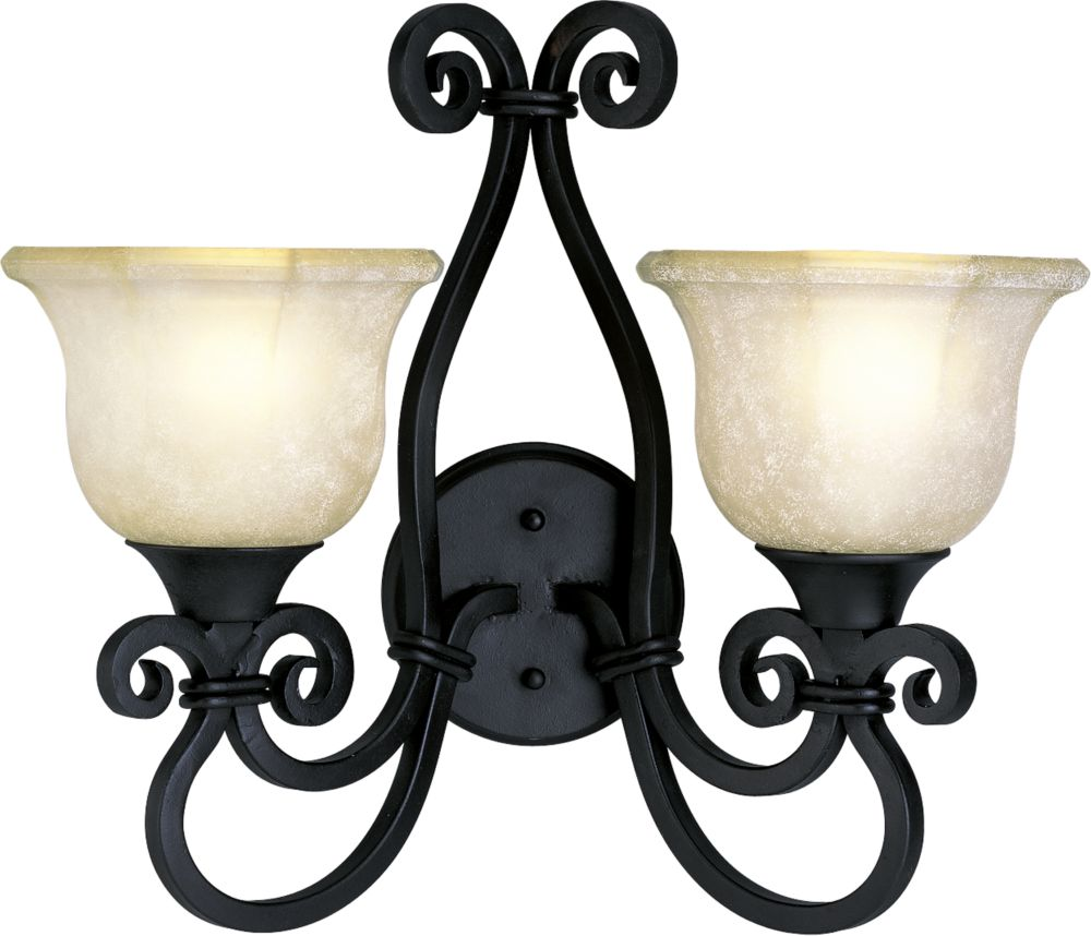 Guildhall Collection Forged Black 2-light Wall Sconce