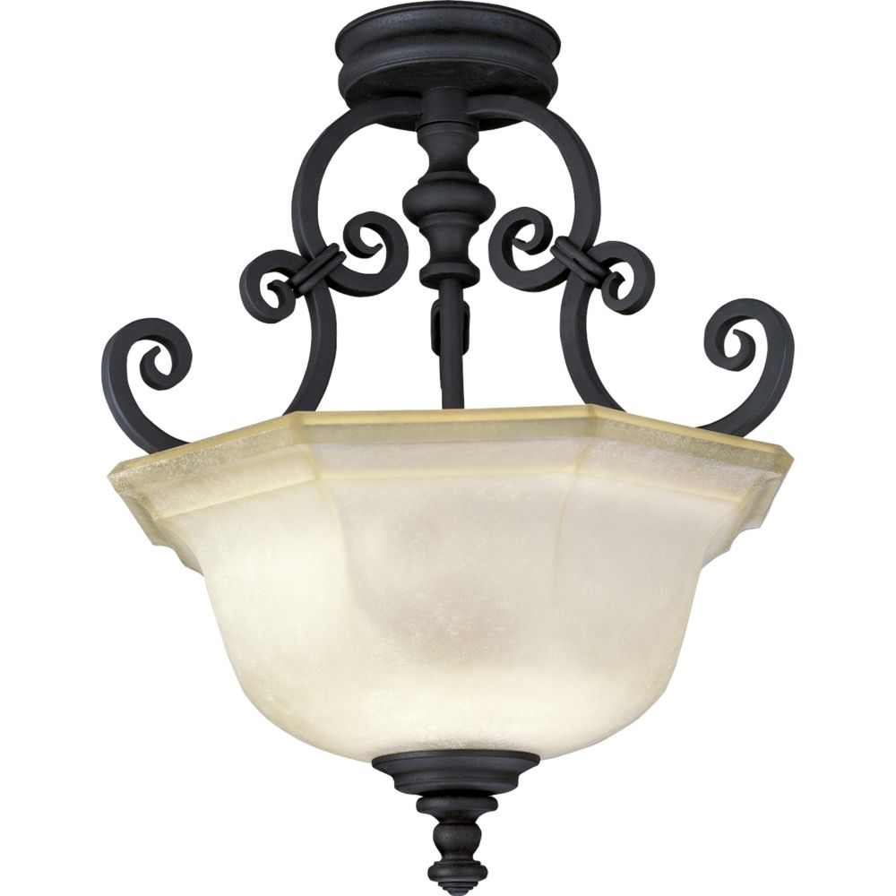 Guildhall Collection Forged Black 3-light Semi-flushmount