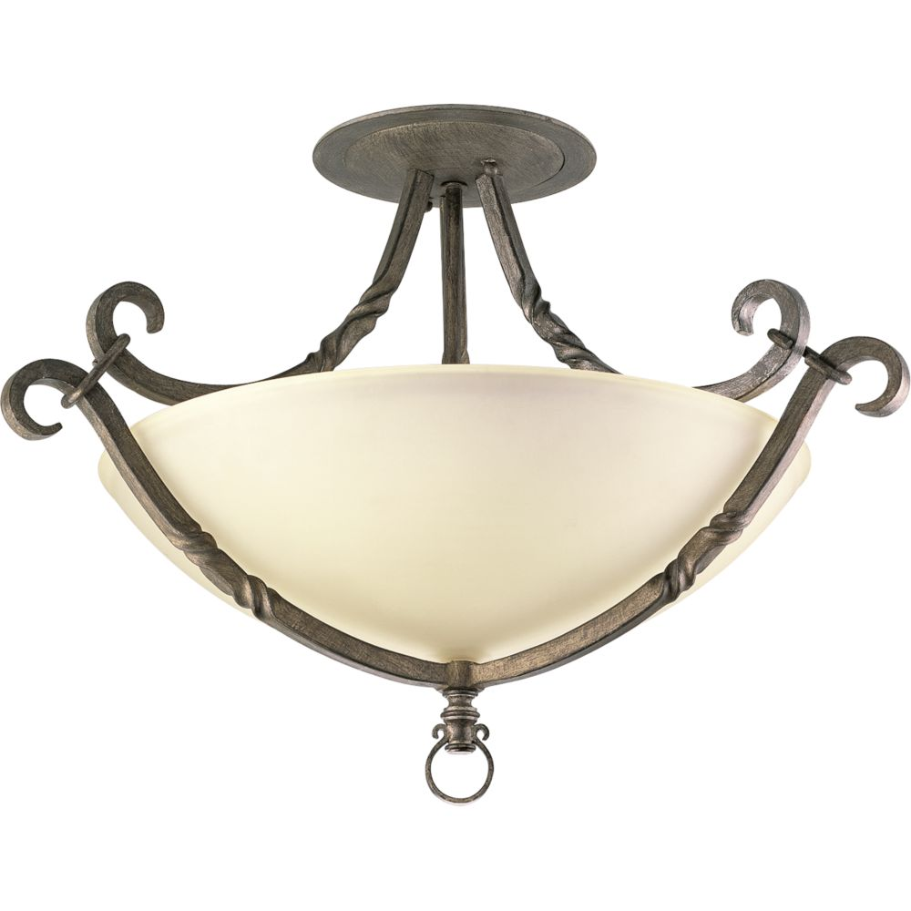 Santiago Collection Antique Pewter 3-light Semi-flushmount