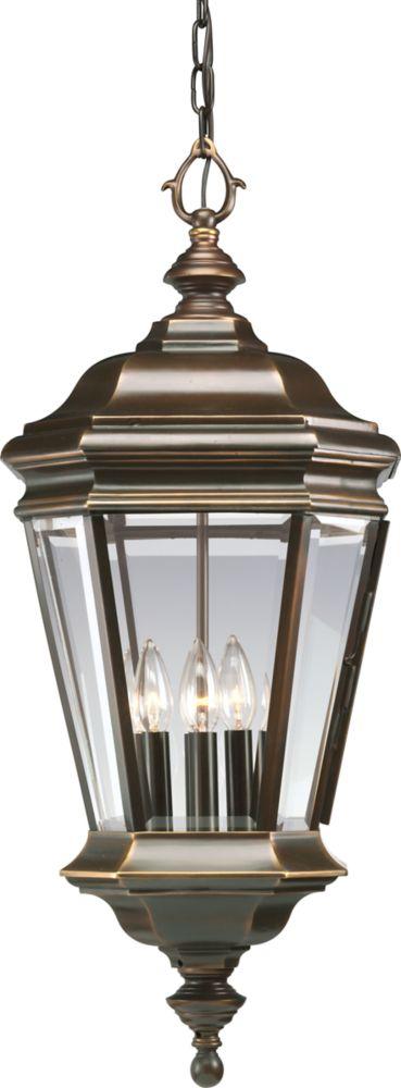 Lanterne suspendue à 4 Lumières, Collection Crawford - fini Bronze Lustre