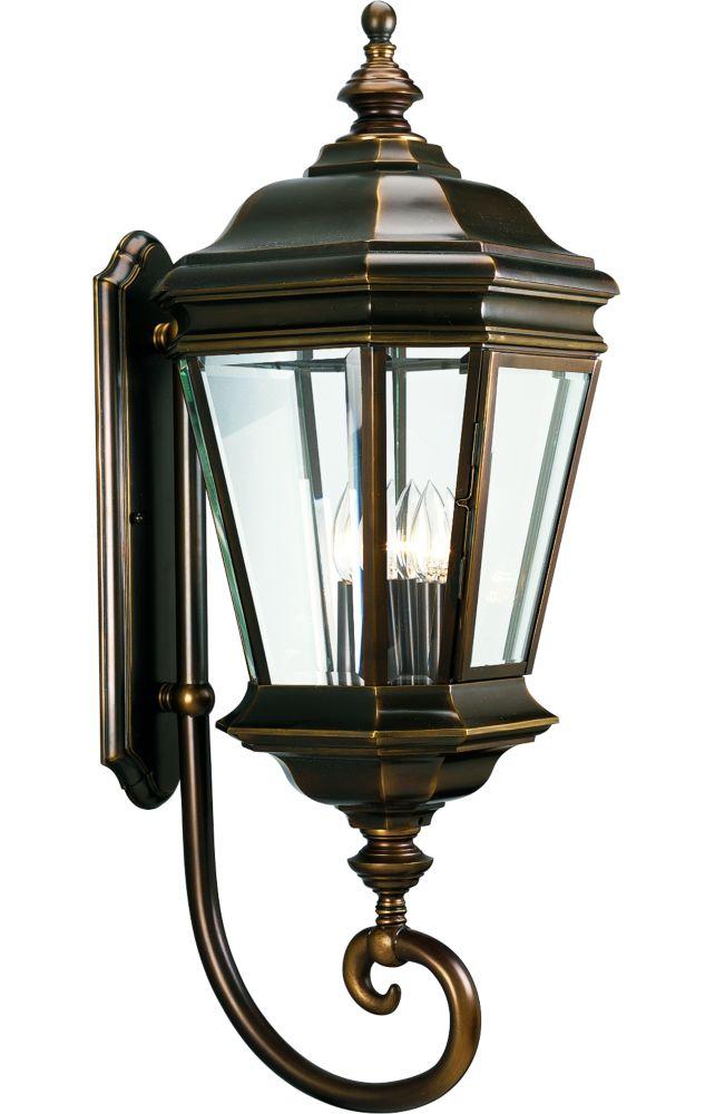 Lanterne murale à 4 Lumières, Collection Crawford - fini Bronze Lustre