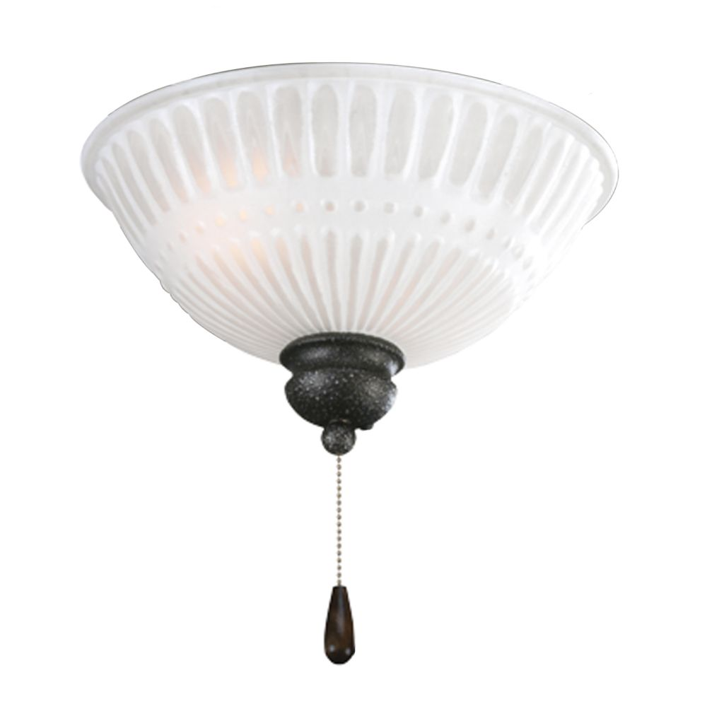 Luminaire de ventilateur de plafond à 2 Lumières, Collection Renaissance - fini Fer Doré