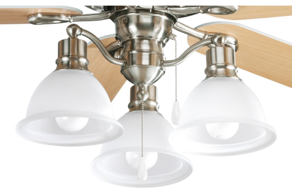 Madison Collection Brushed Nickel 3-light Ceiling Fan Light