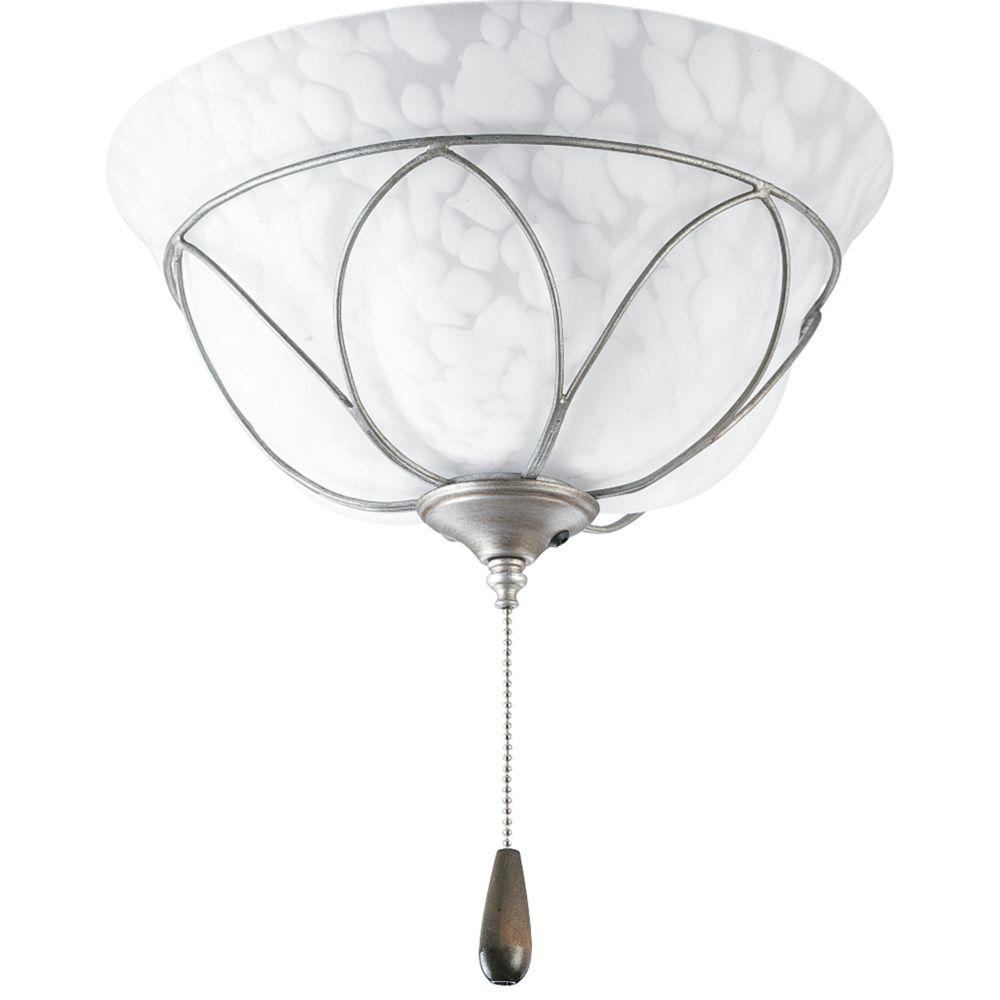 Luminaire de ventilateur de plafond à 2 Lumières, Collection Verona - fini Gris Argenté