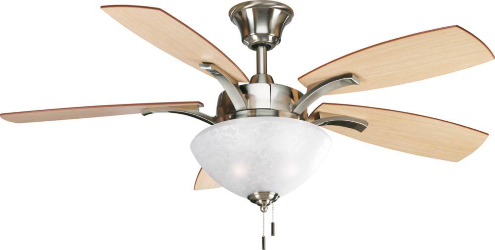 Ventilateur de plafond 52 po, Collection Sentura - fini Nickel Brossé