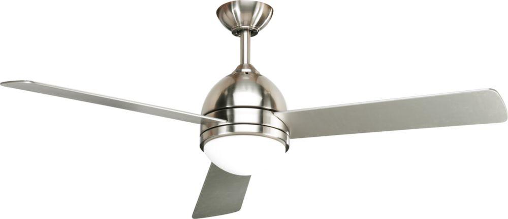 Ventilateur de plafond 52 po, Trevina - fini Nickel Brossé