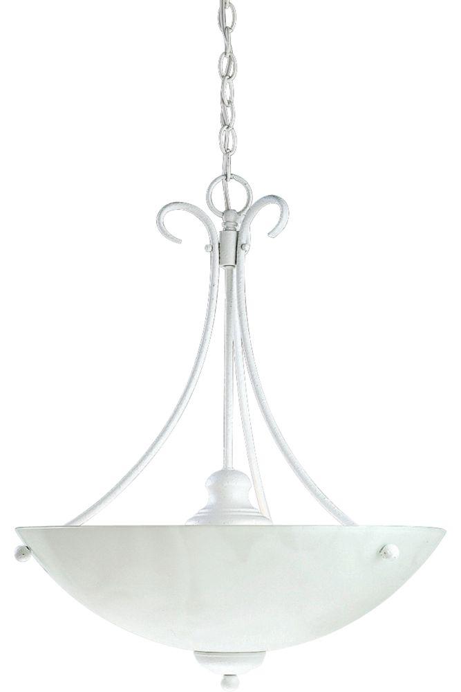 Travera Collection Textured White 3-light Chandelier