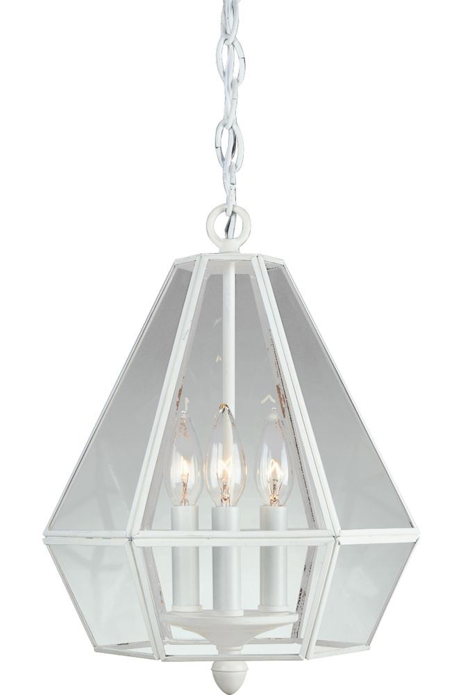 Textured White 3-light Foyer Pendant