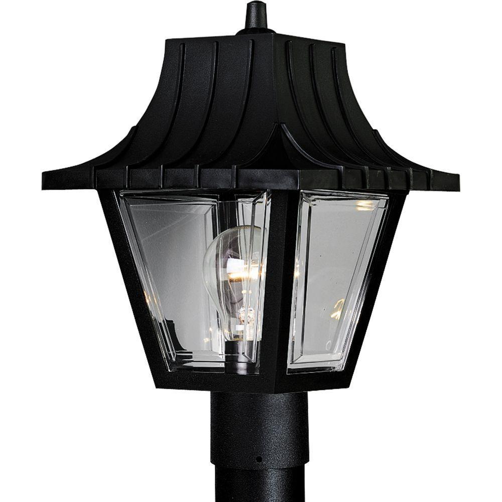Progress Lighting Mansard Collection Outdoor Textured Black Post Lantern