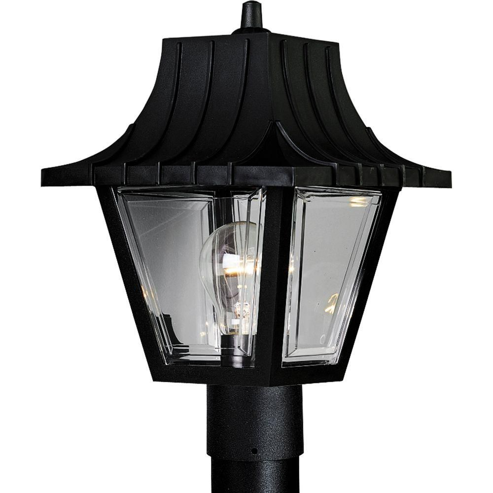 Lamp post lights solar led more the home depot canada mansard collection textured black 1 light post lantern mozeypictures Images