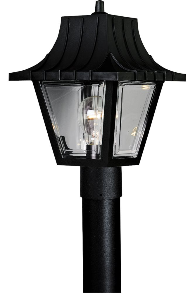 Mansard Collection Textured Black 1-light Post Lantern