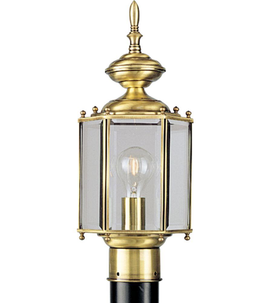 Lampadaire à 1 Lumière, Collection BrassGUARD - fini Laiton à l'Ancienne