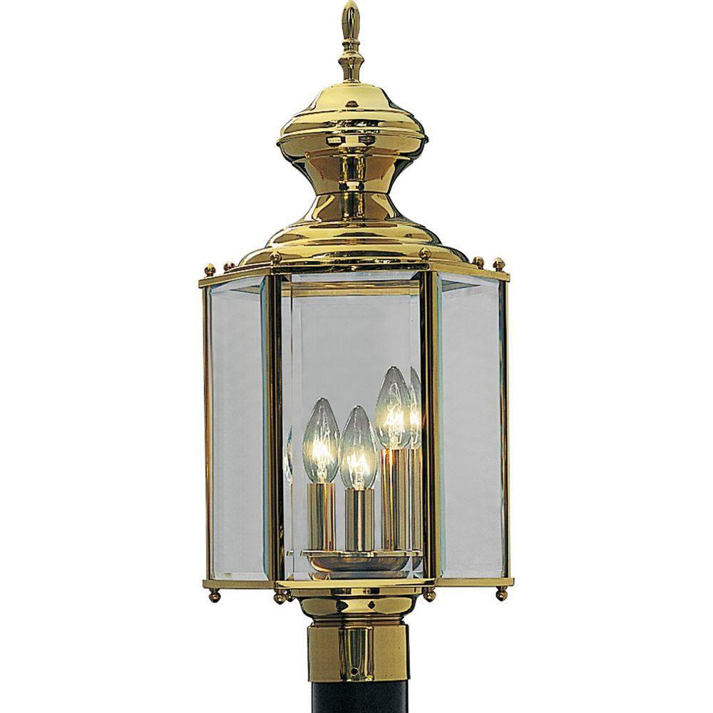 BrassGUARD Collection Polished Brass 3-light Post Lantern