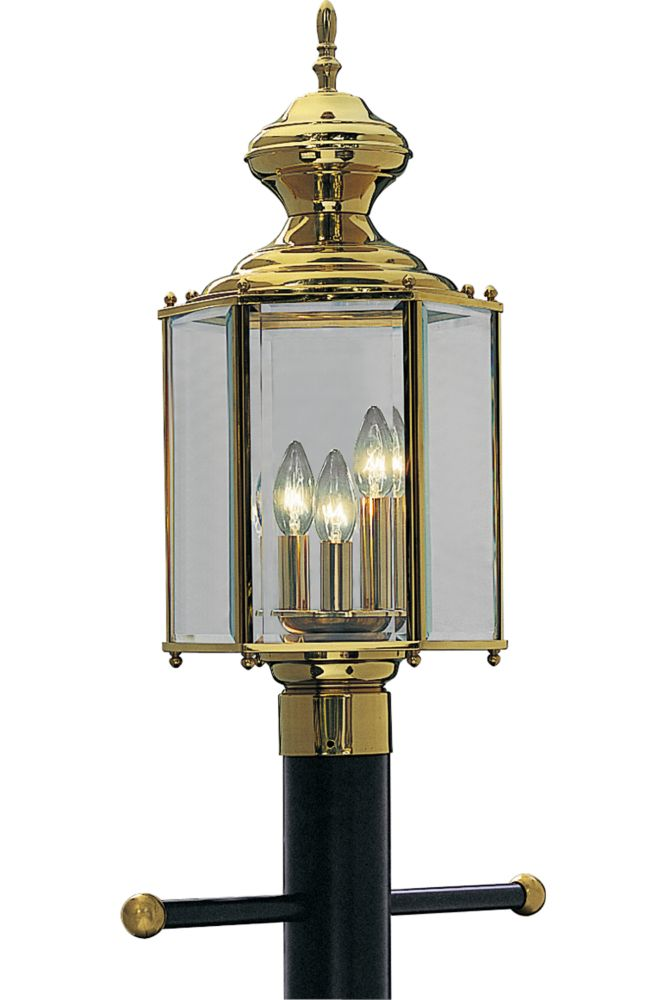 BrassGUARD Collection Polished Brass 3-light Post Lantern